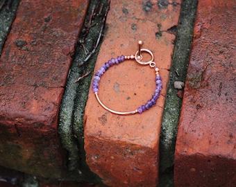 Amethyst and Copper Tube Bead Bracelet | Gemstone Bracelet | Birthstone Jewelry