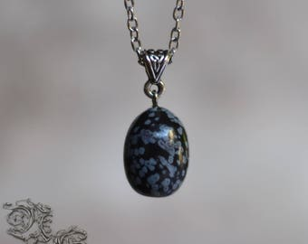 "Necklace "" Oeuf de Dragon "" - Obsidian - Medieval , celtic , viking , pagan , elven , fairy , fantastique"
