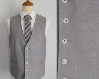 Mens grey waistcoat vest, traditional classic formal, linen blend, x large