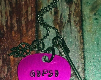 "Boho Dreamcatcher Hand Stamped Pink Guitar Pick Charm Necklace - ""Gypsy Soul"""
