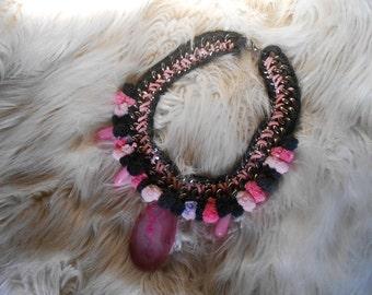 Pom Pom Jewelry Gemstone Necklace Pom Pom Necklace Pink Statement Necklace Semi Precious Stone Necklace Statement Bib Necklace Agate Slice