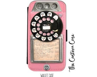 Retro Pink Payphone, Vintage Payphone Wallet Phone Case, for Samsung Galaxy and Iphone cases