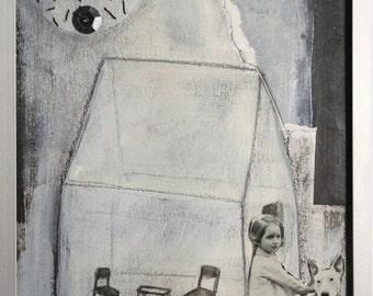 """Illustration originale encadrée """"la ville aux chiens""""."""