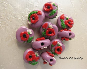 2pcs light purple beads whit daisies and poppies. Polymer clay beads by pair.