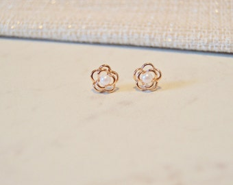 Mini Rose Gold Pearl Flower Studs