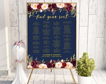 Navy Wedding Seating Chart Alphabetical Template, Printable Burgundy Floral Seating Plan Poster, Gold Foil 24x36 18x24 Instant Download #109