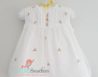 White spot voile beautiful hand embroidered baby dress - 0-3 months