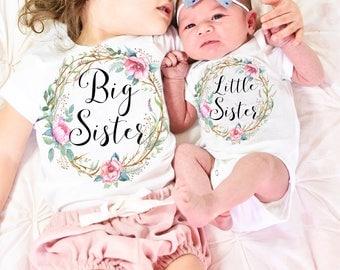 Big Sister Little Sister Set, Big Sister Little Sister Outfit, Big Sister Shirt, Little Sister Bodysuit, Sisters Set