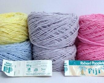 Richard Poppleton Fiji DK Yarn Bundle 100% Cotton Yarn Wavey Textured Colorful Bundle of Knitting Yarn Destash Made in England