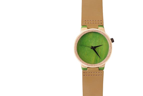 7PLIS watch #64 Recycled SKATEBOARD #madeinfrance yellow brown green wood