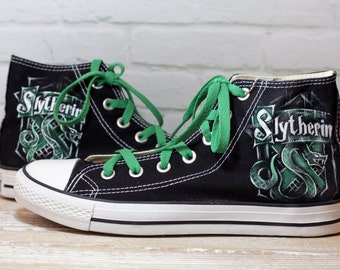 "NEW! Black ""Slytherin"" ver.2 Converse shoes"