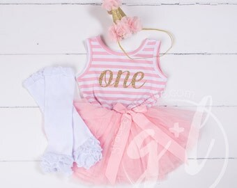 First Birthday outfit girls, First Birthday Dress, First Birthday Set, Pink gold toddlers Dress
