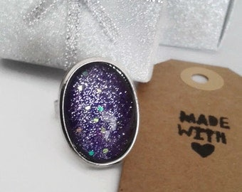 Purple glitter oval silver tone ring (adjustable)
