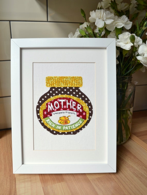 Mother, original mixed-media collage, inspired by love of Marmite, vintage fabrics and hand painting, framed