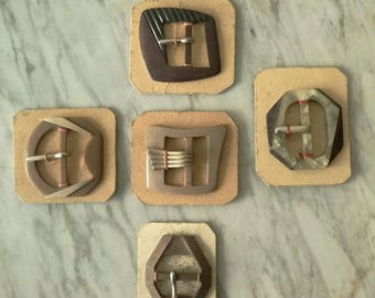 5 small vintage buckles 1940-1950, different sizes, made in Italy