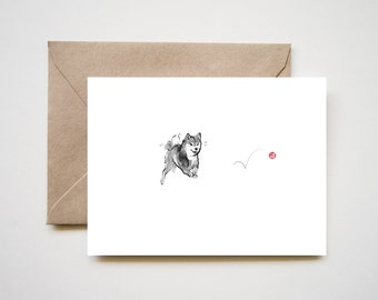 Shiba and red ball card, Unique Sumi-e Painting Art Print B&W Zen Japanese Animal illustration Ink Drawing Dog Lover Wabi Sabi
