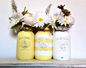 3 Pc. Quart Size Mason Jar Set- White & Yellow with Stripes