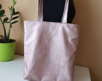 Bronze Faux Leather Bag / Champagne color Tote Bag / Designer Metallic Leather Tote by Myrrmia