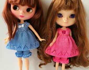 Handknitted set for Blythe\Azone, Momoko, Azone dolls