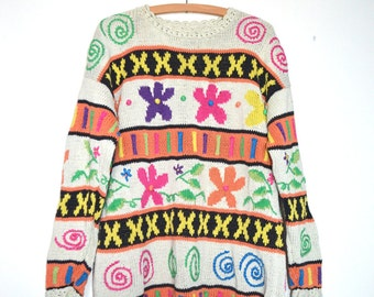 Vintage 80s rainbow bright flower and abstract knitted patterned jumper | Size UK MEDIUM/LARGE