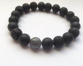 Find Your INNER STRENGTH // Matte Black Onyx, Lava Rock, Labradorite Healing Crystal Stretch Bracelet