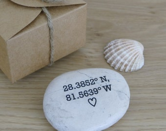 Co Ordinates Gift | Engraved Pebble | Romantic Gifts |