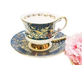 Vintage Elizabethan Teacup, Teal and Gold Chintz Floral Teacup, Fine Bone China