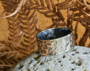 Sterling Silver Ring Stamped with Botanical Designs, Silver Ring, Silver Band, Stamped Ring, Stamped Band, Textured Ring, Textured Band