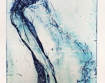 Original etching, Surreal ibis macabre oddity fine wall art gravure, Strange gift for her or him, Slender body, bird creature engraving art