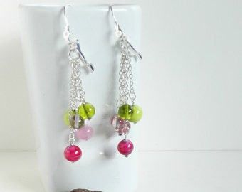 cascading earrings fuchsia and lime green with Murano glass beads