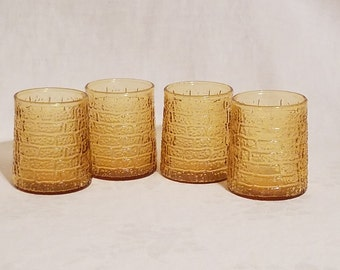 AMBER JUICE GLASSES 1970 Bartlett Collins Stippled Brick set of 4 Tumblers Vintage Retro