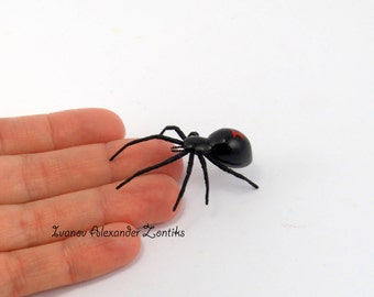 black widow spider, miniature spider, realistic spider,  halloween, spider for halloween, tiny spider, insects, toy spider, spiders