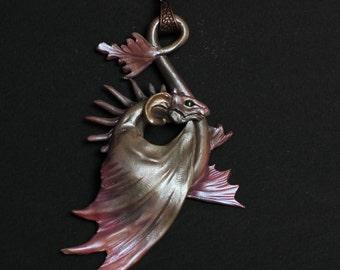 Silver black Dragon necklace pendant fantasy charm baby jewellery beast creature