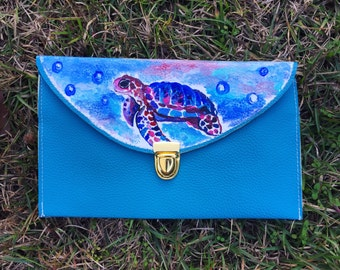 Sea Turtle Clutch: Hand Painted Colorful Turtle Clutch