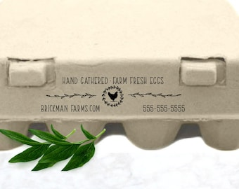 Personalized Carton Stamp | Hand Gathered Stamp | Chicken Rubber Stamp | Skinny Carton Stamp | Chicken Coop Stamp | Custom Egg Carton Stamp