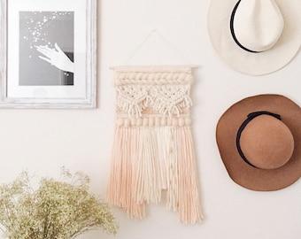 fae | hand woven wall hanging and macrame | natural, apricot, and gold | fiber art wall tapestry | wall weaving | macrame