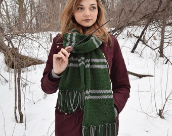 Slytherin Scarf Harry Potter House Knit Chunky Oversized Green Long Scarf