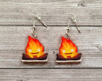 Calcifer earrings - Howl's moving castle, Miyazaki, studio Ghibli, kawaii, geek, cute, japanese, Japan, lasercut, acrylic