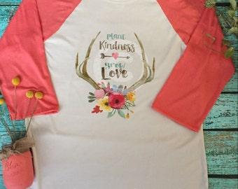 Ladies Antler Floral Plant Kindness Love Coral Raglan Sleeve Shirt