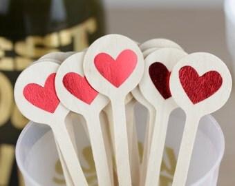 Red Heart Stir Sticks, Cute Drink Stir Sticks, Cute Valentine's Day Decorations, Bridal Shower Stir, Bachelorette, Heart Cupcake Toppers