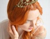 Tiara and Corsage, Vintage Boho Tiara, Art Deco Headpiece, Silver Floral Garland
