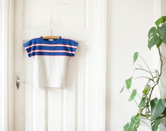 Vintage 70s Top White Blue Red Striped Top Bold Tennis Top Womens 1970s Small Stripy Pullover Top Drop Shoulder Cap Sleeve Tennis T Shirt S
