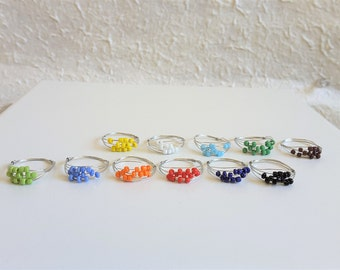 Worry seed beads silver wire ring (Blue, red, Green, Black, White, Yellow, Orange, Brown) Boho, Chic, Minimalist, Feminine, Pastel colour.