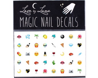 Emoji Nail Decals / Emoji Nails / Emoji Nail Wraps / Emoticon Nail Wraps / Pizza Nail Decal / Alien Nail Decal / Food Nail Decal
