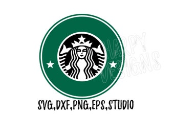 Coffee Logo SVG, Starbucks Coffee SVG, Coffee SVG File, Cricut Cut Files, Silhouette Cut Files
