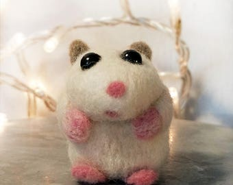 Needle Felted Mouse,Hamster, Hamster Plush, Wool Felt, Needle Felted Hamster, Dwarf Hamster, White Hamster, Needle Felted Animals, OOAK