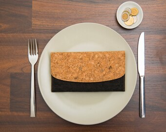 Boho Women's Wallet, Vegan Women clutch wallet, Purse, Cork Vegan Envelope Wallet, Brown & Black, women's bag, mothers day, gift for her