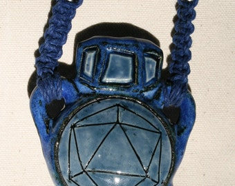 Blue Odesza Pipe Pendant - Functional Bowl - Hemp Necklace