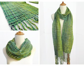 spring scarf, green, yellow, blue scarf, hand woven wool scarf, mother's day gift , lightweight scarf, handwoven by SpunWool