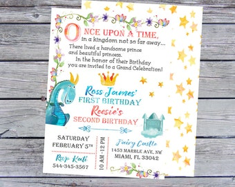 First Birthday Invitations, twins birthday invitations, triplets birthday invitations, Storybooks invitation, fairy tale themed party,